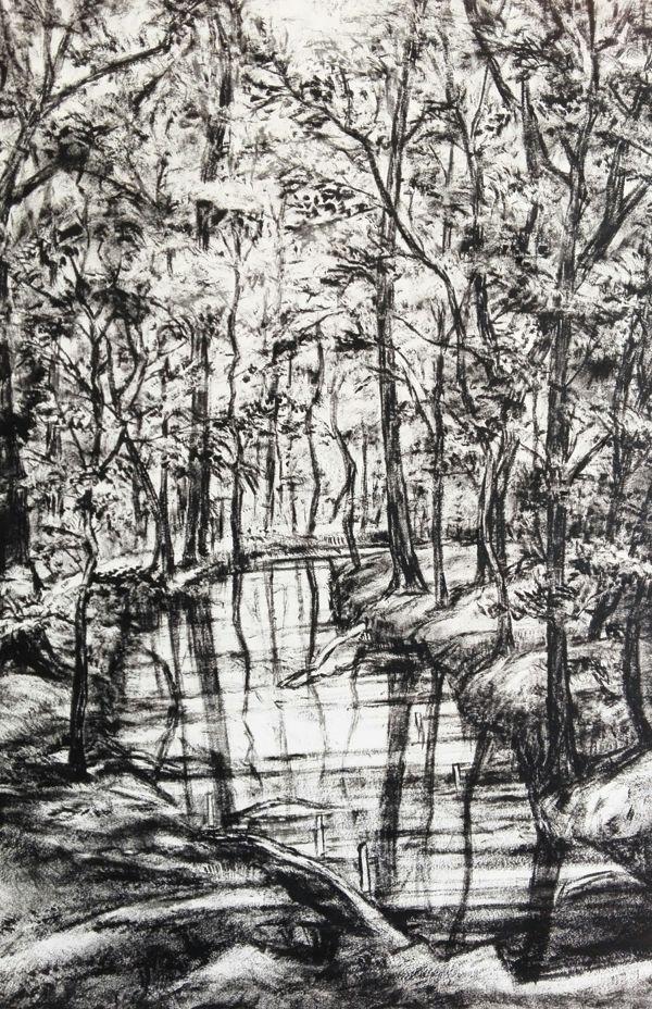 Carmen-Meiswinkel-Bach-im-Wald-Oel-auf-Papier-40-x-60-cm-2020