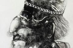 Der Zauberer,  Holzdruck und Tuschefeder, 55 x 40 cm, 2020