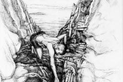 Der Gewissenhafte des Geistes, Tuschefeder,  55 x 40 cm, 2020