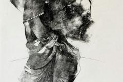 Der Priester, Holzdruck und Tuschefeder, 55 x 40 cm, 2020
