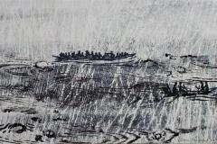Flüchtlingsboote, Holzschnitt Unikat, 33.5 x 51.5 cm , 2015
