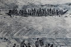 Flüchtlingsboote, Holzschnitt Unikat, 70 x 55 cm, 2015